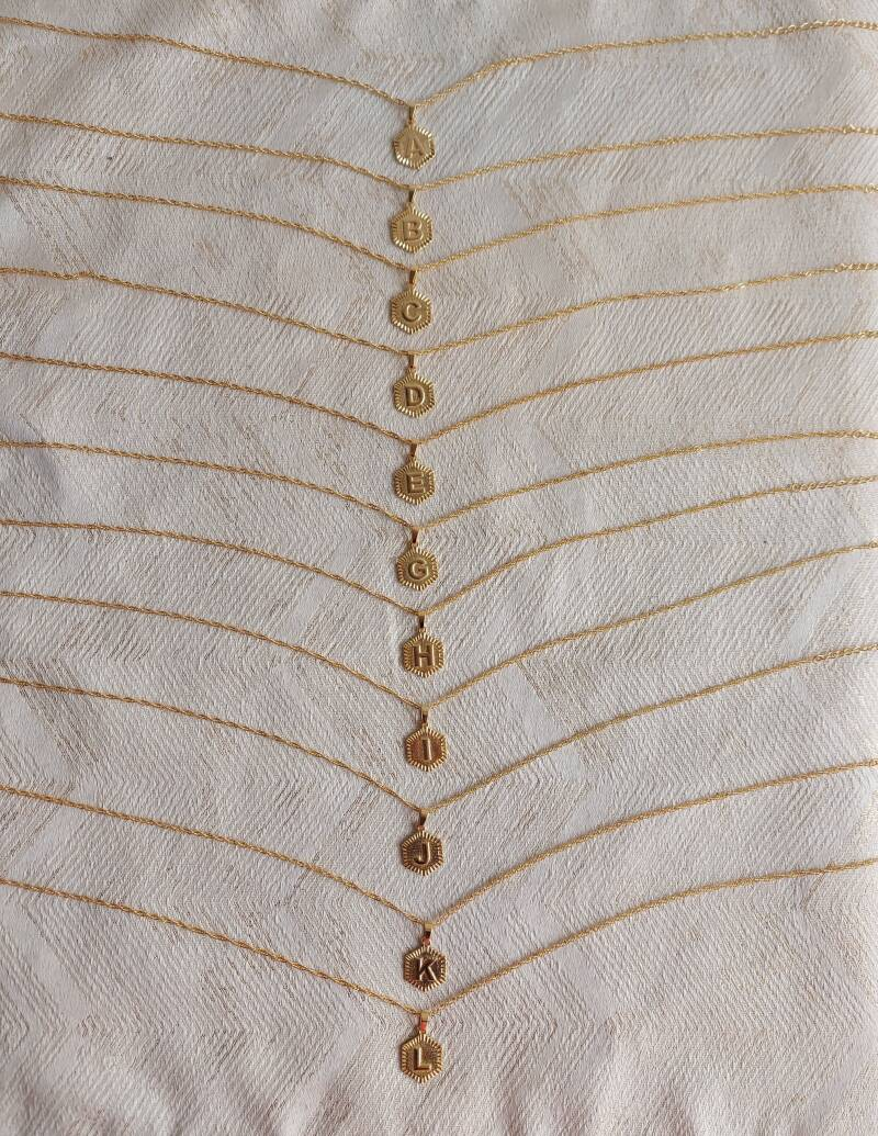 Initial plate necklace | goud