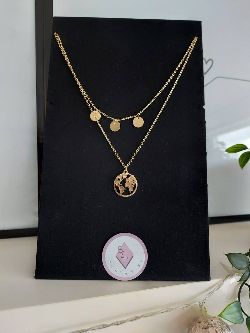 Layered necklace world/coin | goud