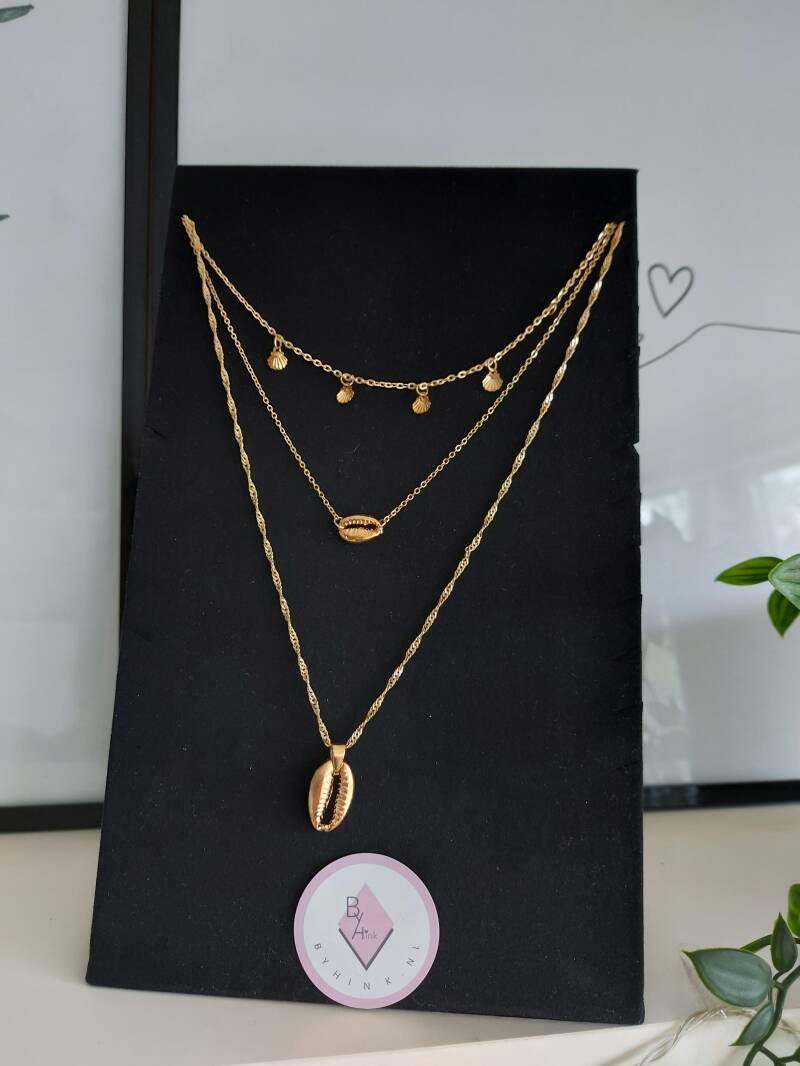 Layered necklace shell | goud