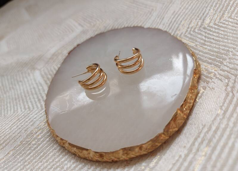 Triple earrings medium | goud