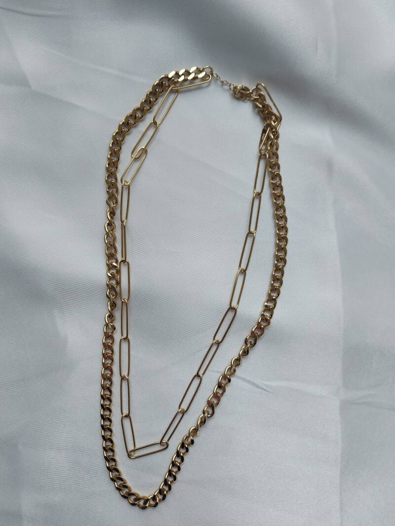 Layered chain necklace   goud