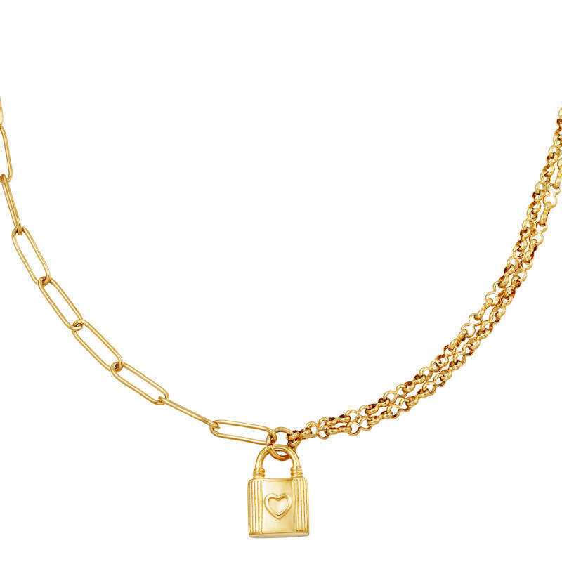 Necklace different chain lock hart | goud