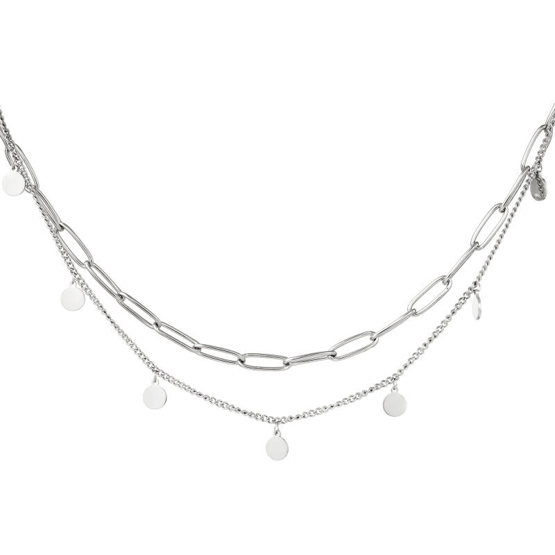 Dubbele ketting circle | zilver