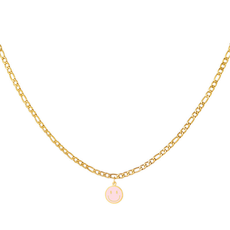 Chain necklace smiley | roze