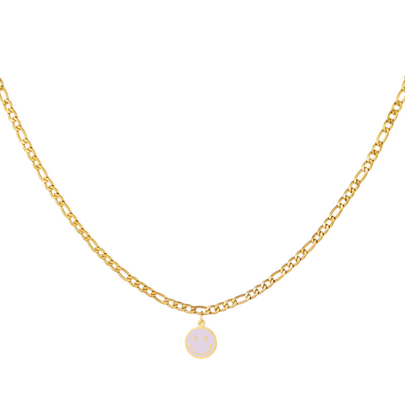 Chain necklace smiley   lila