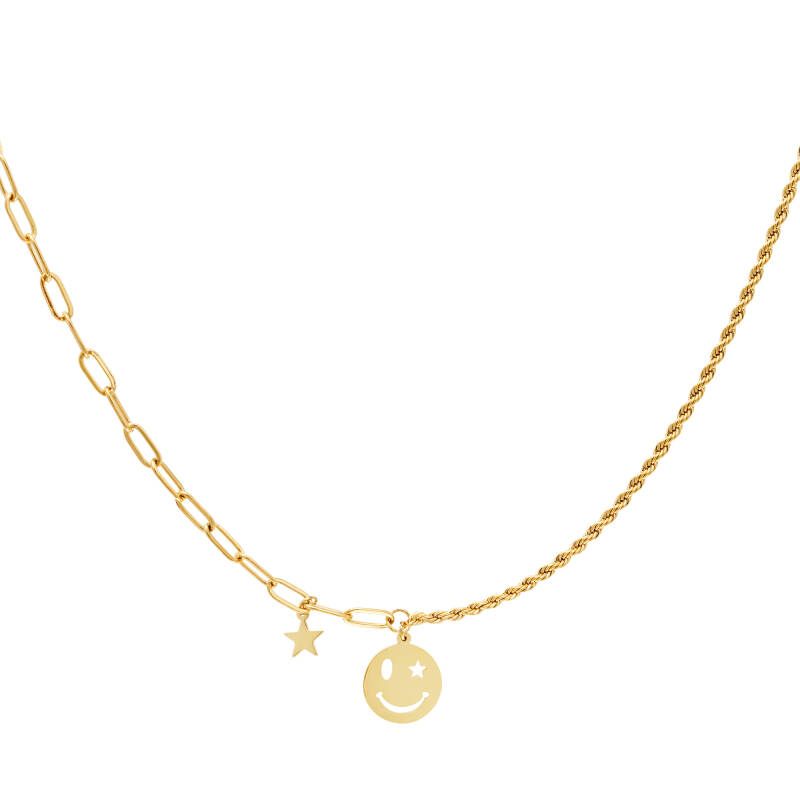 Necklace different chain smiley   goud