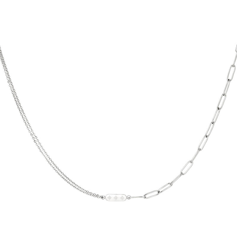 Different chain necklace charm   zilver