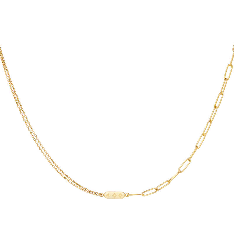 Different chain necklace charm   goud