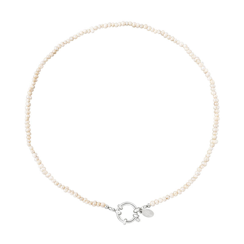 Necklace white beads round | zilver
