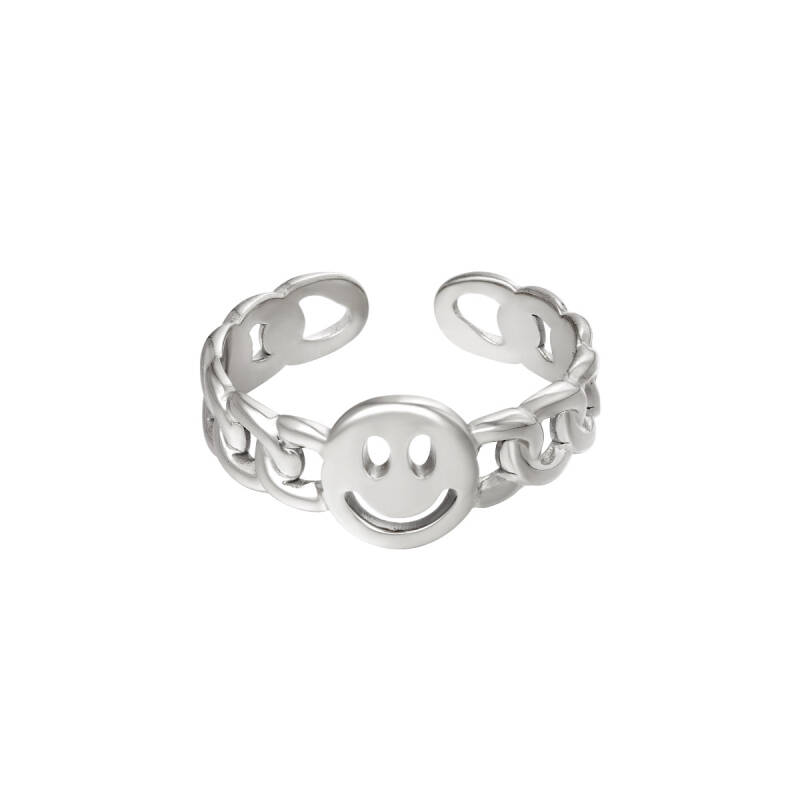 Chain ring smiley   zilver