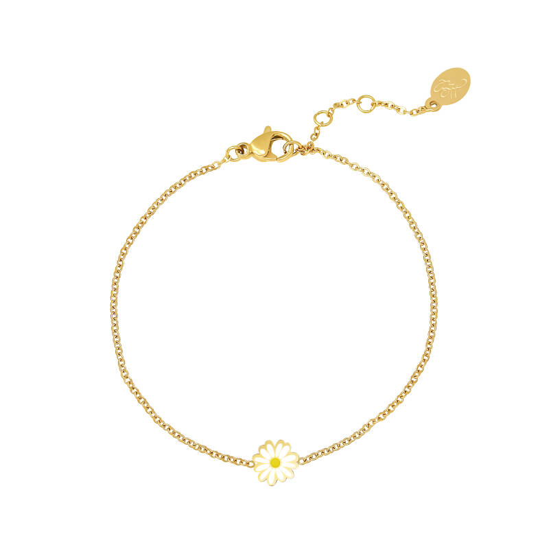Armband madelief | goud wit