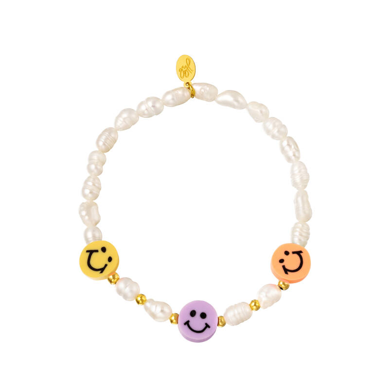 Armband pearl smiley | pastel