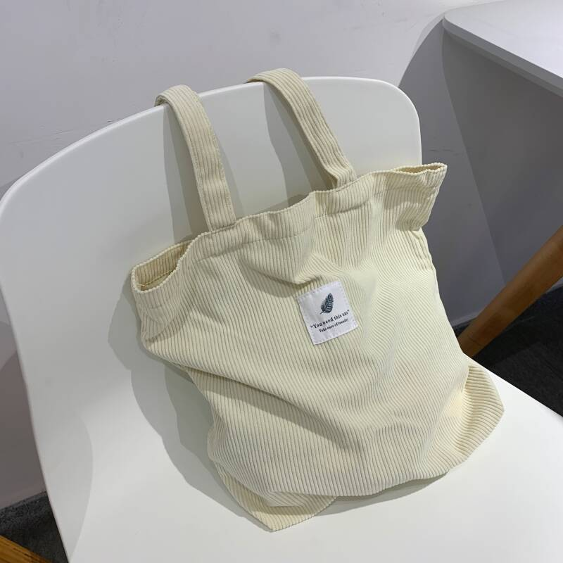 Corduroy tote bag wide | wit