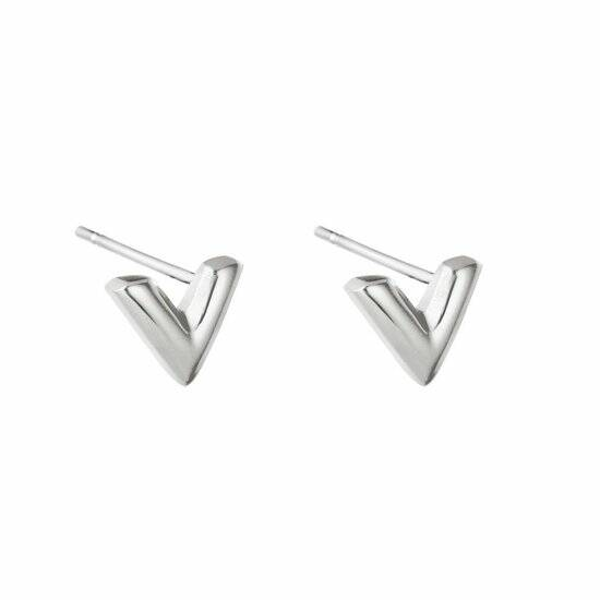 V stud earrings small | zilver