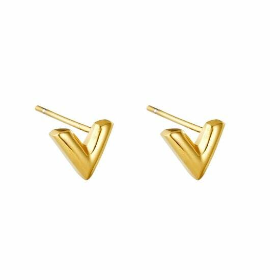V stud earrings small | goud