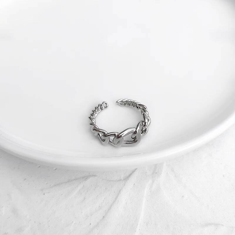 Chain ring small big | zilver