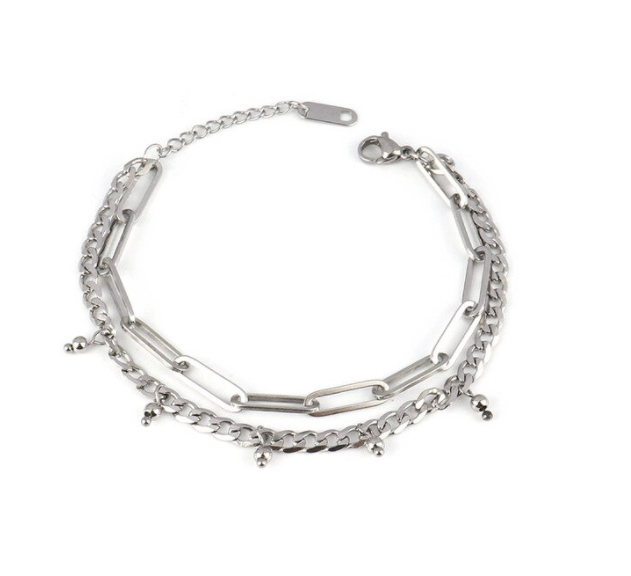 Armband double chains | zilver
