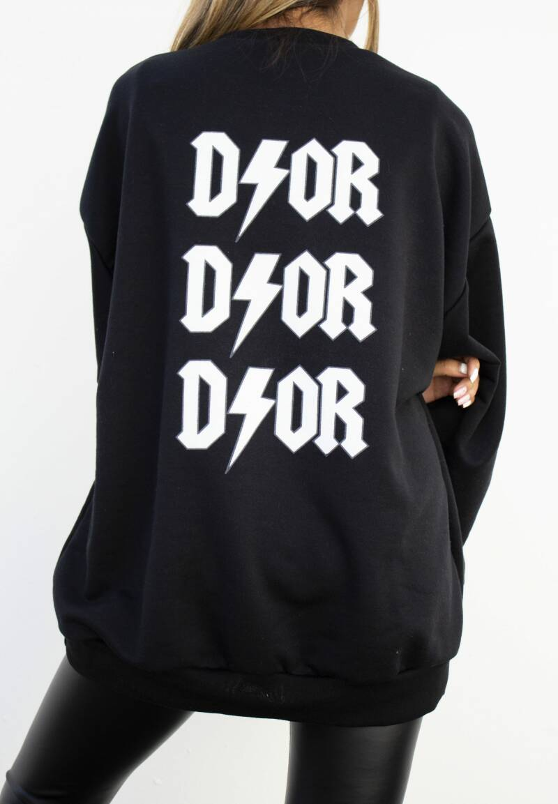 Oversized sweater dor | black white