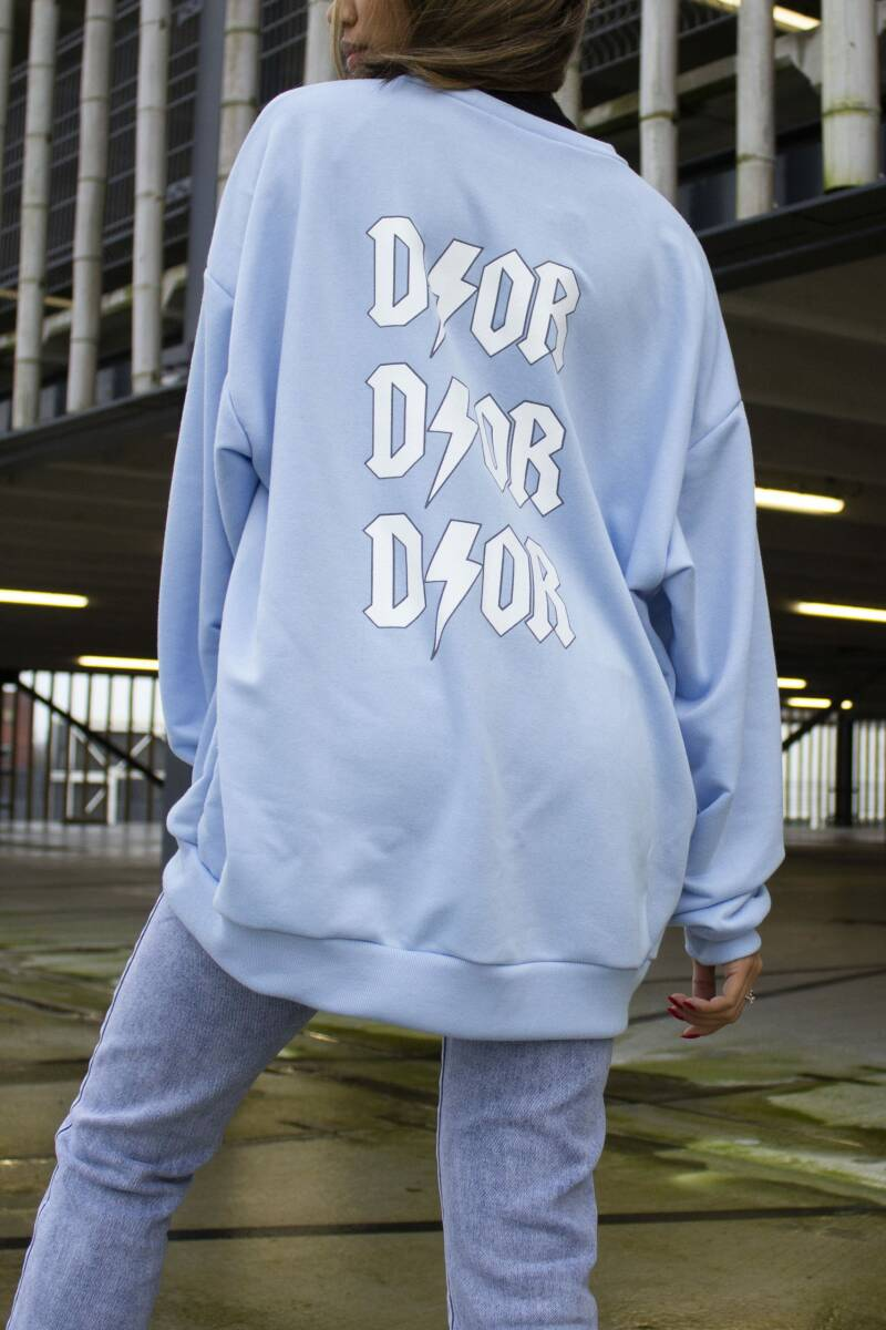 Oversized sweater dor | blauw white