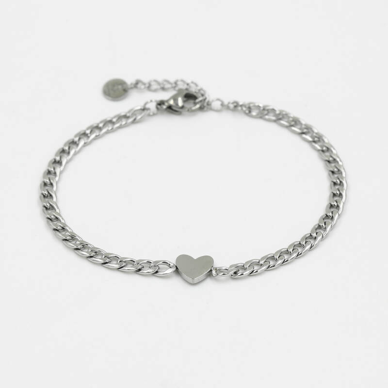 Armband small chain hart | zilver