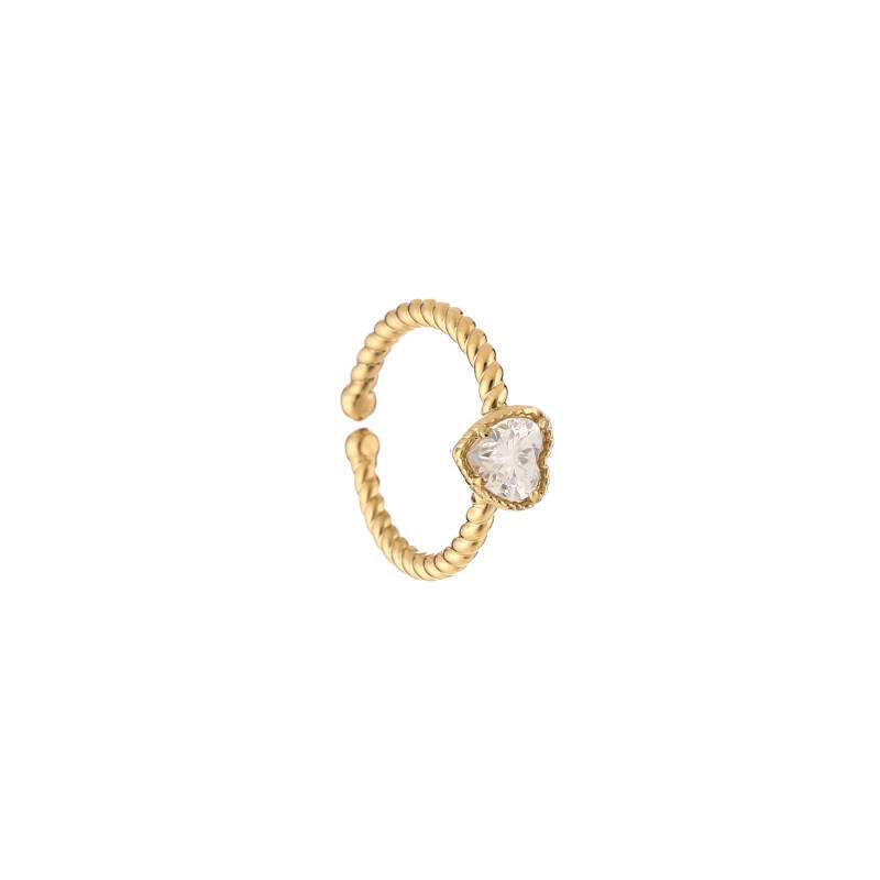 Twisted ring heart   goud wit