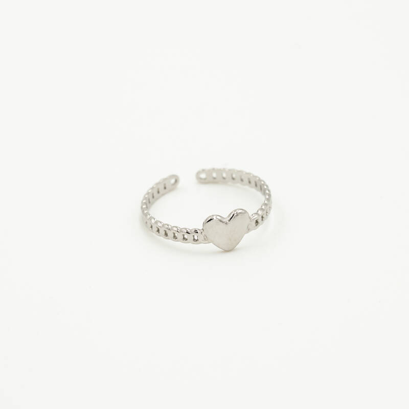 Chain ring small heart | zilver
