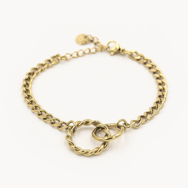 Chain bracelet twisted | goud