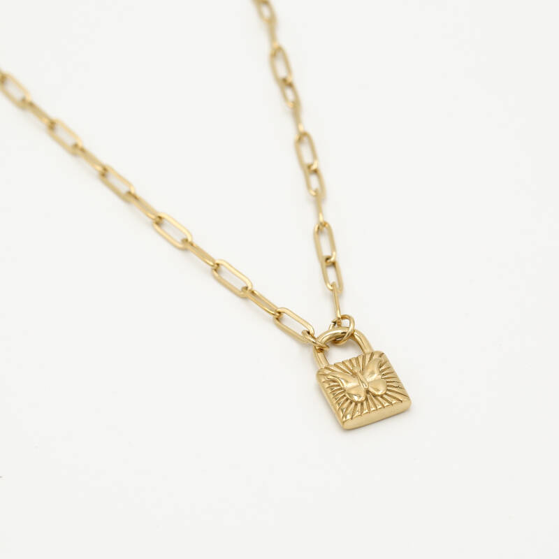 Necklace lock butterfly | goud