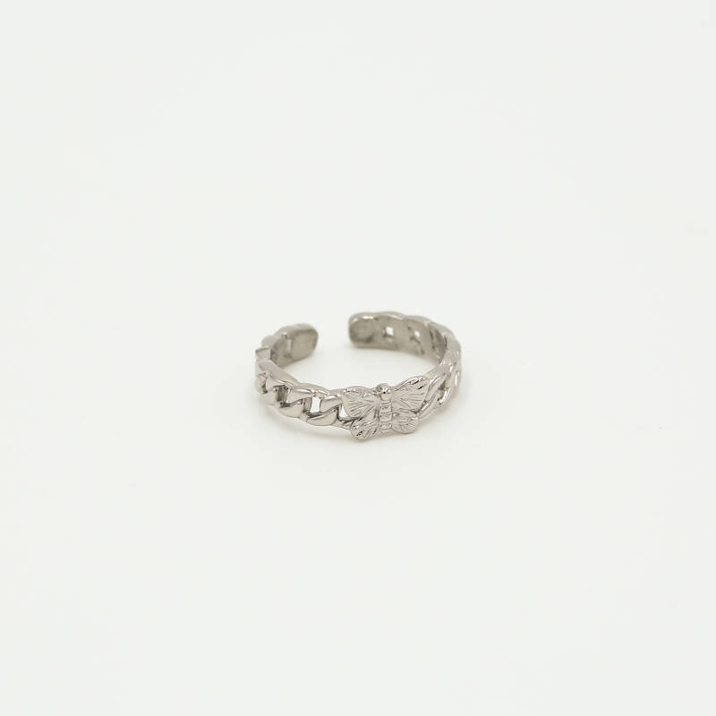 Chain ring butterfly | zilver
