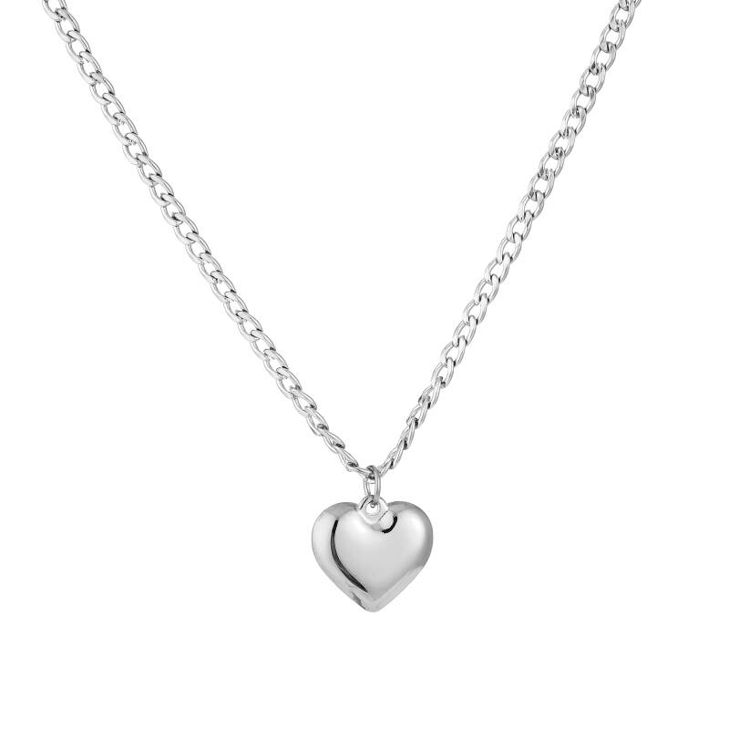 Chain necklace big heart | zilver