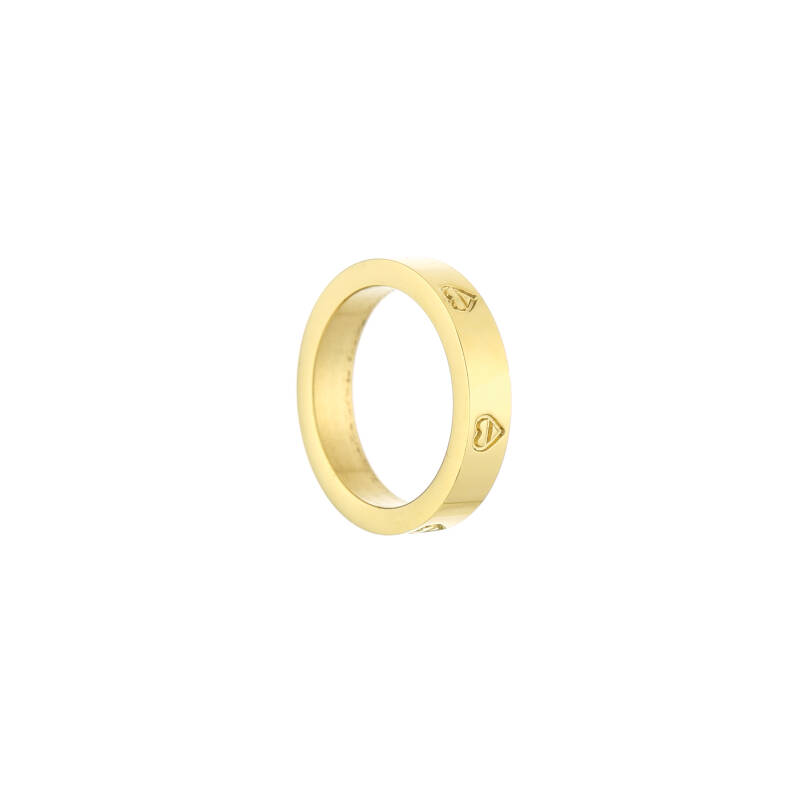 Wide ring hearts   goud