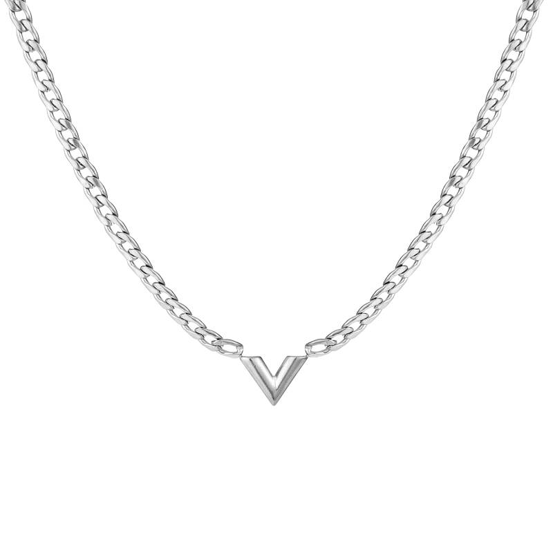 Chain necklace V   zilver