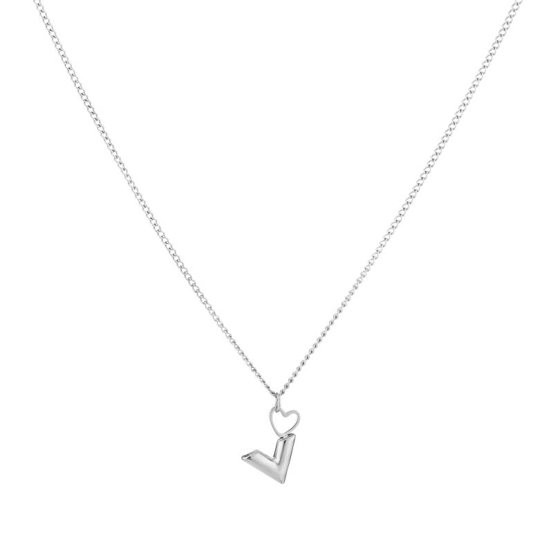 Small chain necklace V heart | zilver
