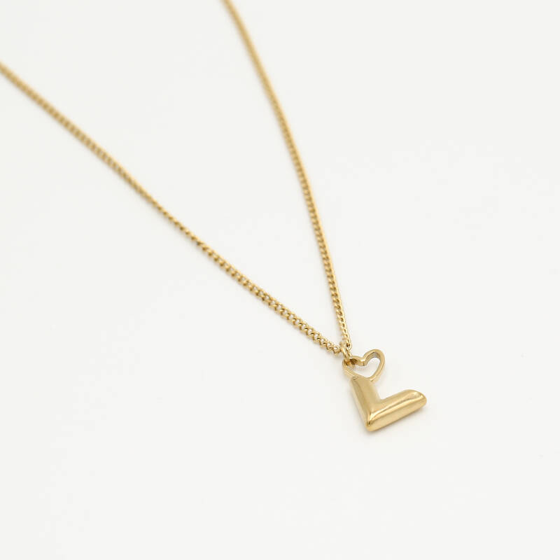 Small chain necklace V heart   goud