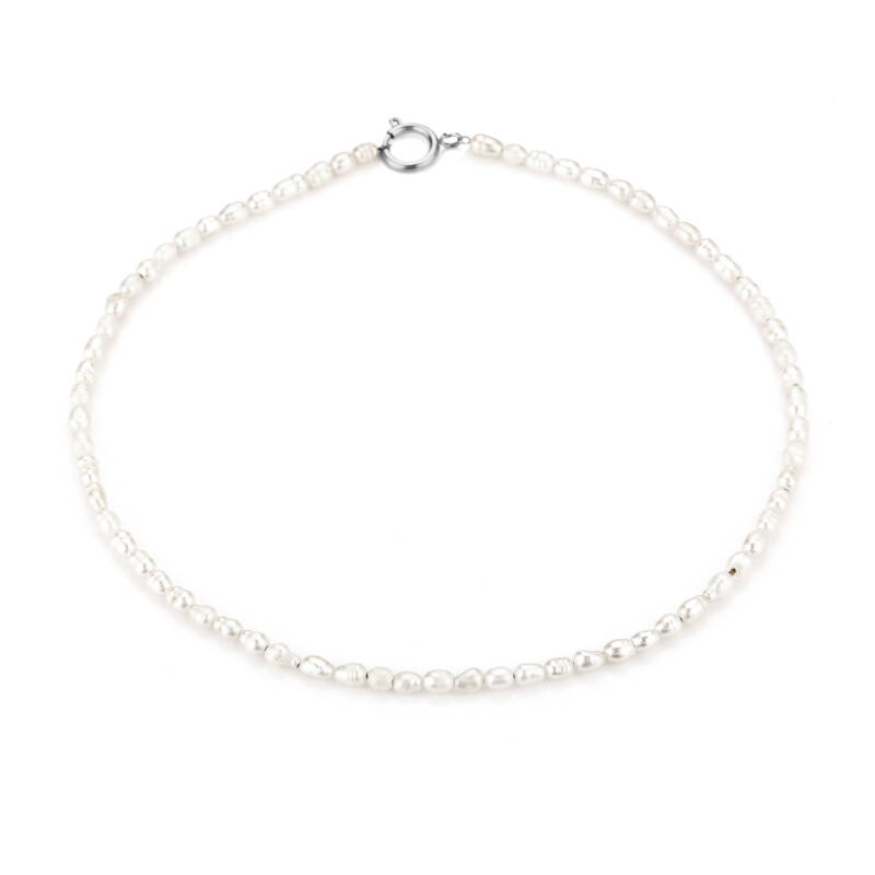 Necklace pearl round | zilver