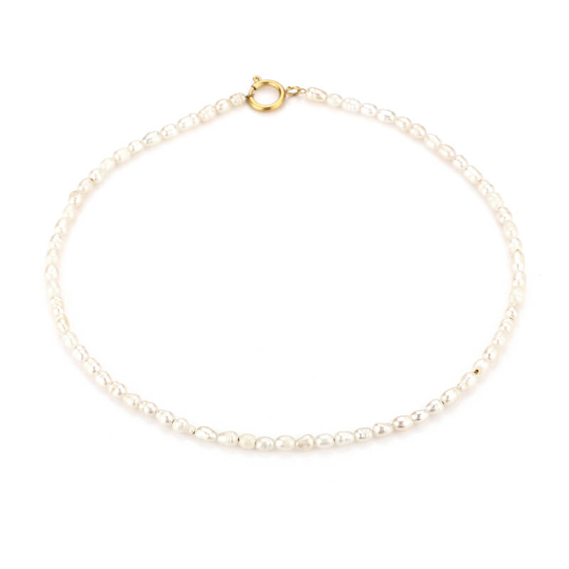 Necklace round pearl | goud