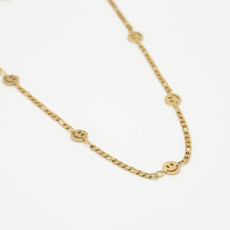Chain necklace smiley   goud