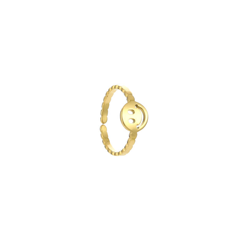Ring rounds smiley | goud