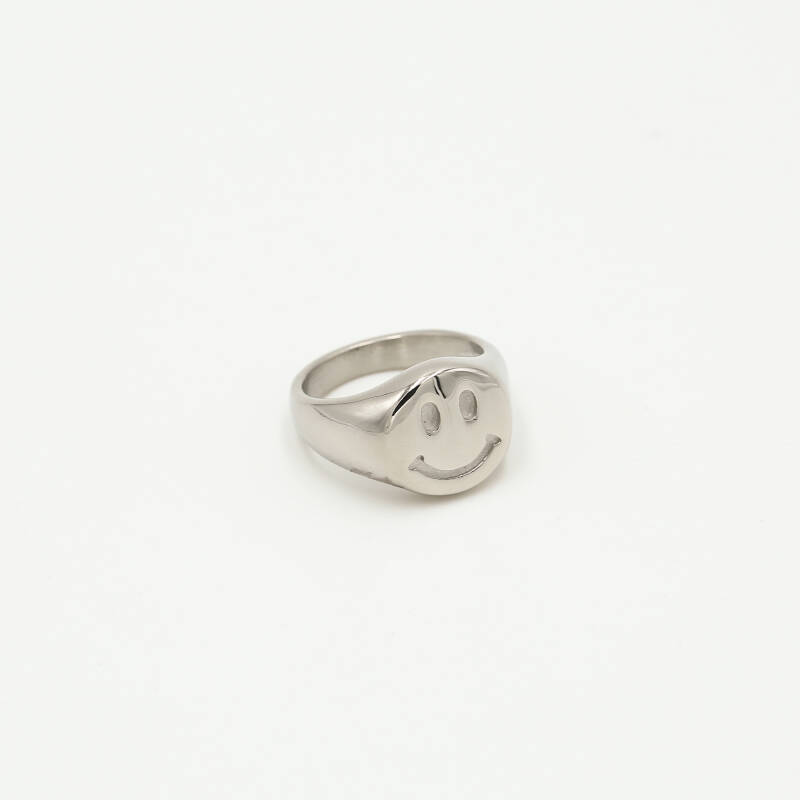Ring chunk smiley | zilver