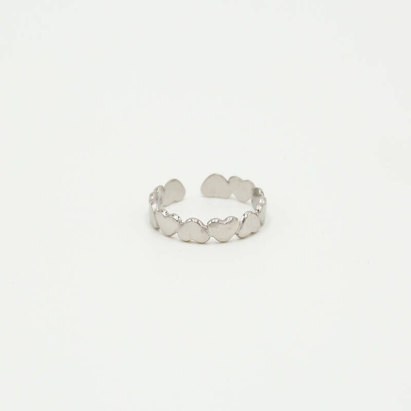 Ring turned hearts | zilver