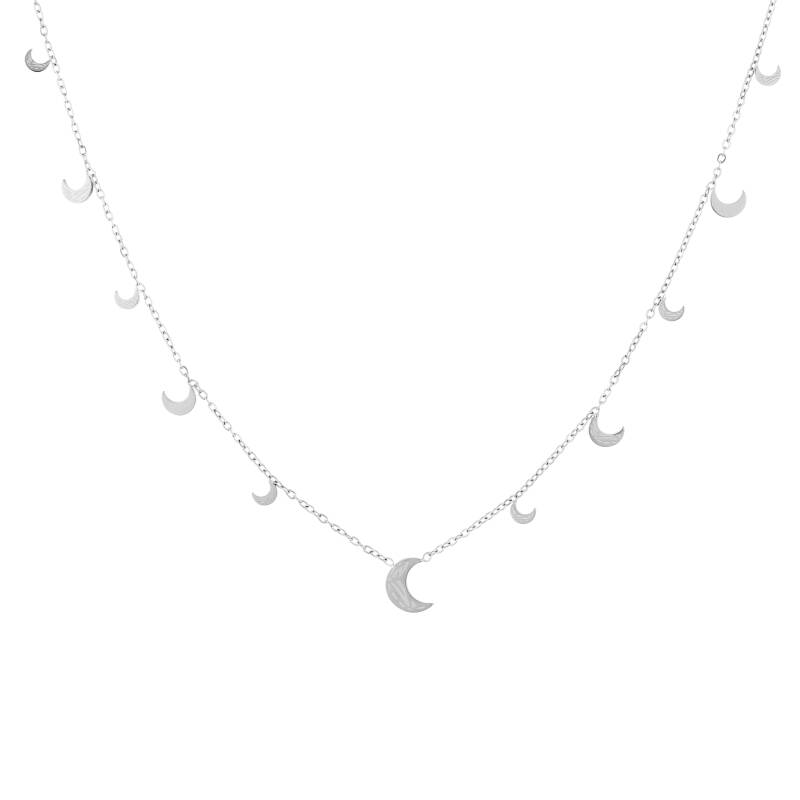 Floating moon necklace print | zilver