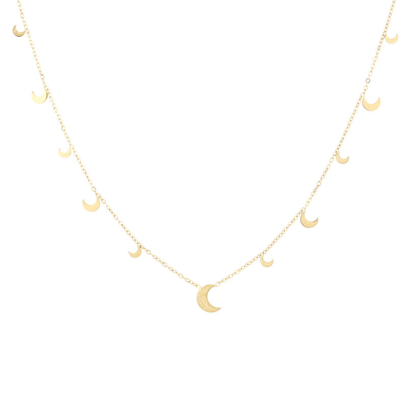 Floating moon necklace print   goud