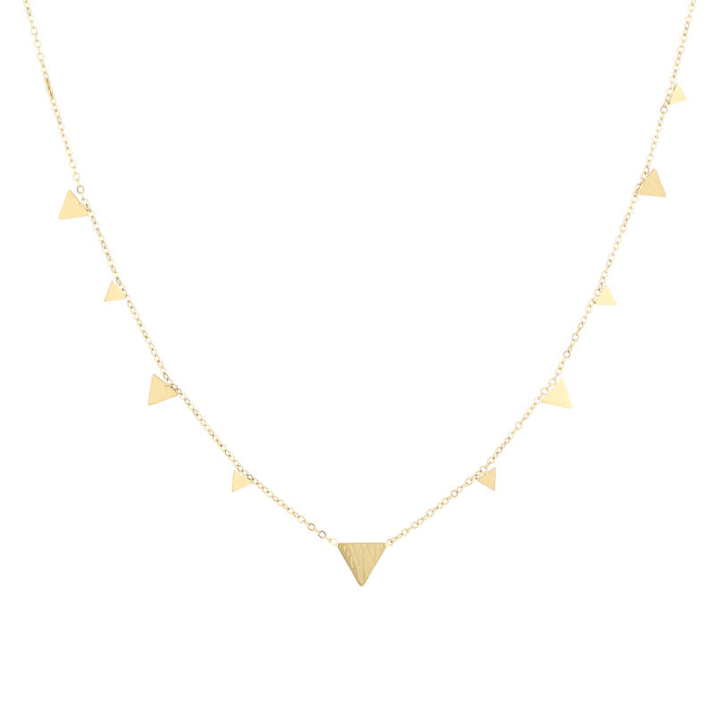 Floating triangle necklace print   goud