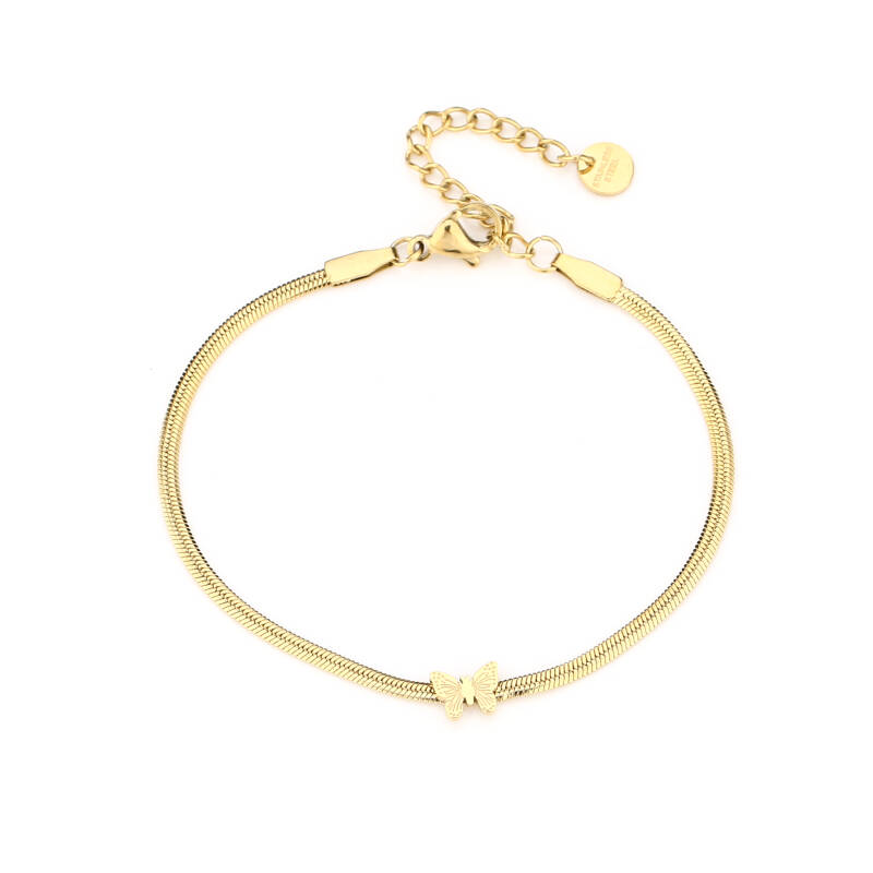 Armband flat butterfly | goud