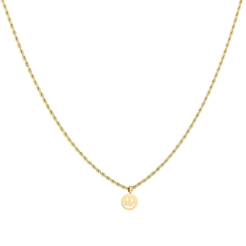 Small twisted necklace smiley | goud