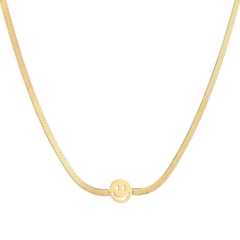 Necklace flat smiley   goud