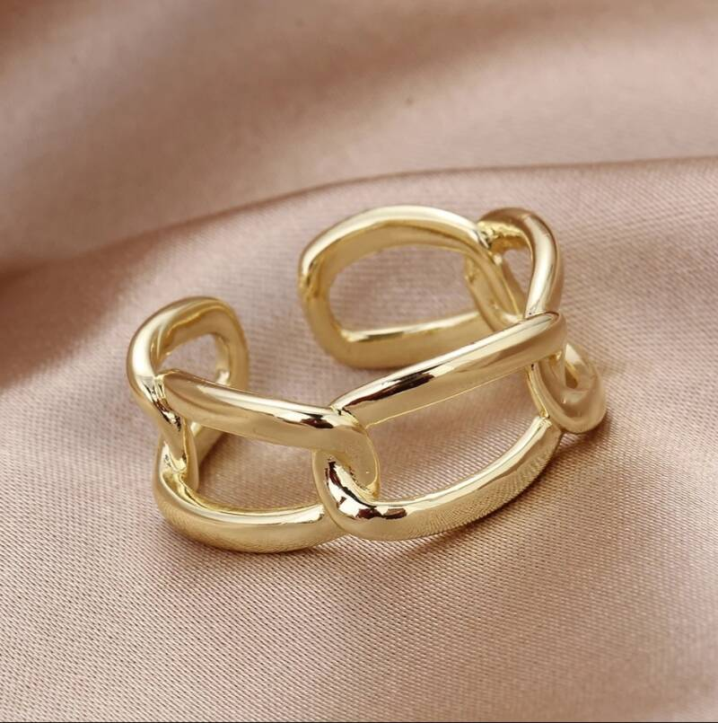 Ring wide chain | goud
