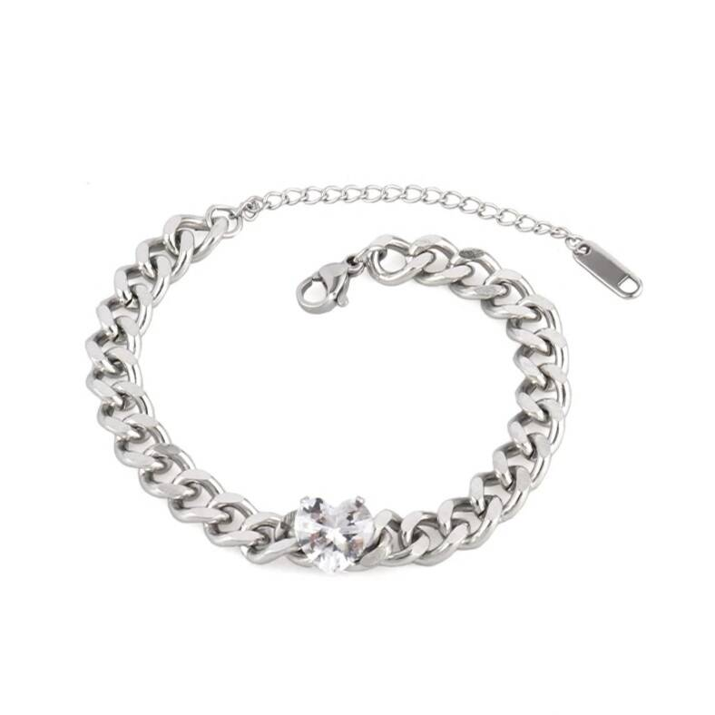 Chain bracelet diamond heart | zilver