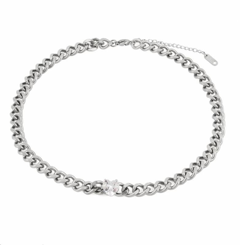 Chain necklace diamond heart | zilver