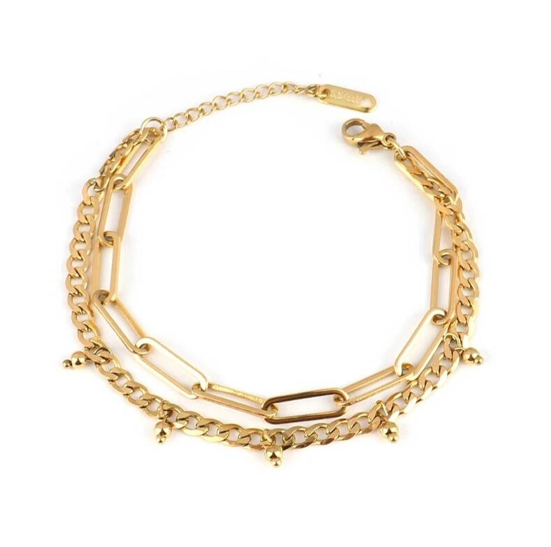 Armband double chains | goud